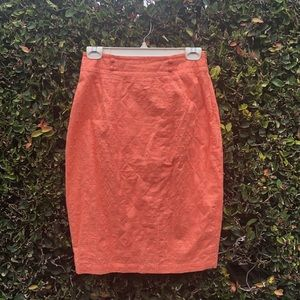 Peach Geometric Embroidered Cotton Pencil Skirt